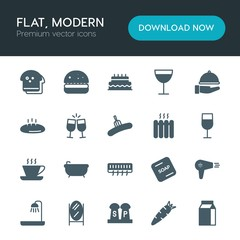 Modern Simple Set of food, hotel, drinks Vector fill Icons. ..Contains such Icons as  orange, wine,  birthday,  party,  sweet,  soap, salt and more on white background. Fully Editable. Pixel Perfect