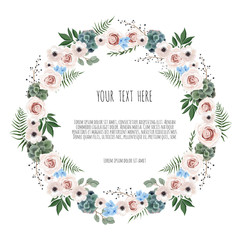 Spring wreath. Floral background with beautiful flowers