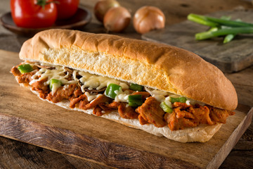 Spicy Barbecue Pork Submarine Sandwich