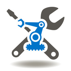 Spanner Screwdriver Robot Arm Icon Vector. Repair Automation Robotics Manipulator Service Illustration. Robotic Engineering Industry Fix Logo Symbol.