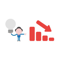 Vector illustration businessman holding gray light bulb with sales chart moving down, bad idea and go bankrupt