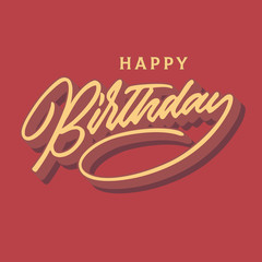 happy birthday vintage hand lettering typography card