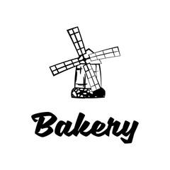 Windmill Baking Shop. vintage label.  Illustration Isolated On White