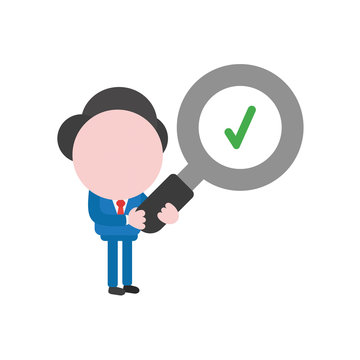 Vector illustration businessman holding magnifying glass with check mark