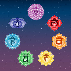 seven colorful chakras anahata ajna sahasrara muladhara swadhisthana manipura vishuddha on space blue and purple sky star symbol indian buddhism yoga hinduism vector