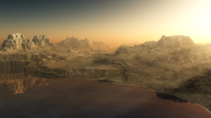 alien landscape, a lake at sunset among the mountains,