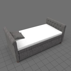Double bed with upholstered frame