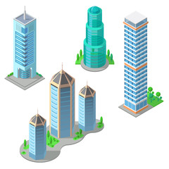 Vector isometric set of modern buildings, urban skyscrapers, high business towers, residential multistorey constructions isolated on background. Architecture, town exterior, objects for infographic