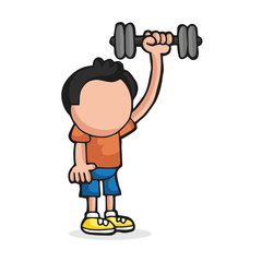Vector hand-drawn cartoon of man standing pumping dumbbell