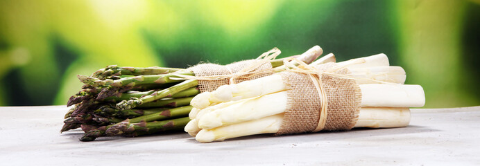 Bunch of fresh white asparagus and green asparagus