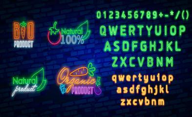 Vegan logo in neon style. Neon symbol, bright luminous sign, neon night advertising on the theme of Vegetarian food,
