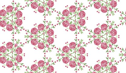 Seamless floral pattern with watercolor roses. Romantic background for printing on fabric, textiles, clothing, wrapper, paper