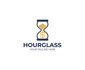 Hourglass and dollar sign logo template. Sandglass and money vector design. Time and money logotype