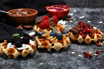 Belgian waffles with pomegranate and raspberries, homemade healthy breakfast with mint