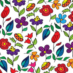 Vector floral illustration. A set of magical flowers. Drawn fictional bright flowers.