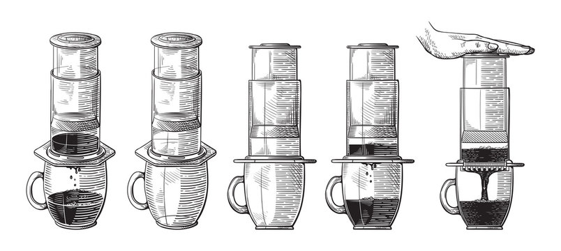 Vintage illustration of alternative brewing of aeropress with pushing hand scheme process