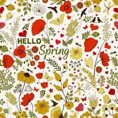HELLO Spring. Floral seamless pattern