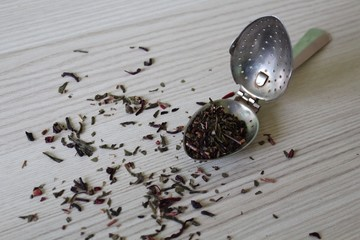 Tea in bulk with vintage spoon