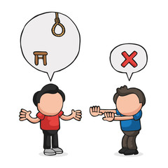Vector hand-drawn cartoon of men with speech bubble arguing on death by hanging sentence