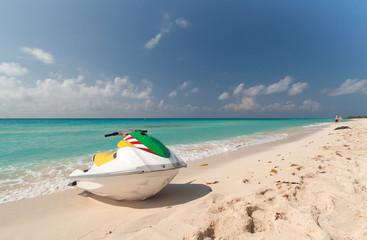 Jet ski on the Caribbean beach, Mexico