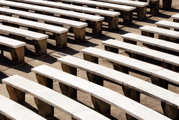 Close-up of Outdoor Stadium Marble Benches