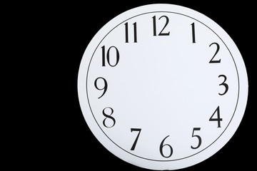Isolated Shot of Blank Clock face on Black Background Concept