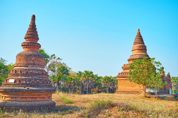 Ancient stupas in Bagan archaeological site, Myanmar