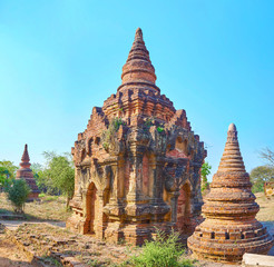 The brick stupas in New Bagan Myanmar