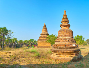 The small stupas in New Bagan, Myanmar