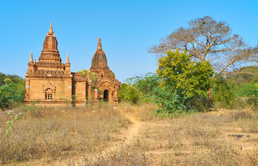 Bagan temples with beautiful decoration, Myanmar