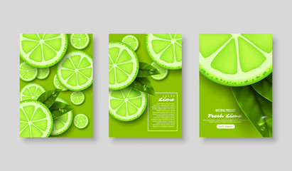 Lime poster set. Sliced pieces with leaves and water drop. Fruit template for brochure, layout design, banner, cover, flyer. Vector illustration.