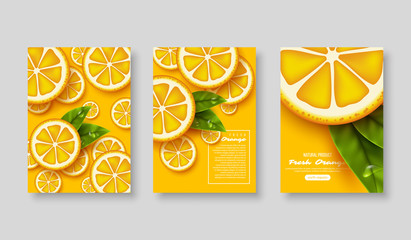 Orange poster set. Sliced pieces with leaves and water drop. Fruit template for brochure, layout design, banner, cover, flyer. Vector illustration.