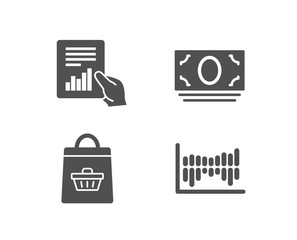 Set of Online buying, Document and Cash money icons. Column diagram sign. Shopping cart, File with diagram, Banking currency. Sale statistics.  Quality design elements. Classic style. Vector