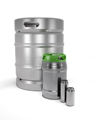 Beer kegs and cans (3d illustration).