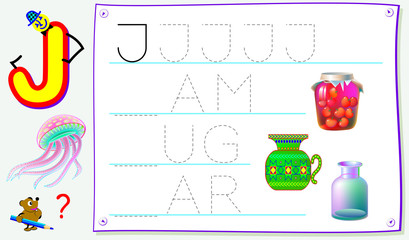 Educational page for young children with letter J for study English. Developing skills for writing and reading. Vector cartoon image.