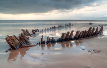 The Sunbeam ship wreck on the Rossbeigh beach, Co. Kerry, Ireland