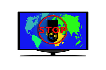 The monitor with the image of a map, the silhouette of the atomic bomb and the red circle with the word STOP.