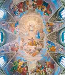 "The painted vault with the ""Apotheosis of Saint James"" by Silverio Capparoni, in the Church of San Giacomo in Augusta, in Rome, Italy."