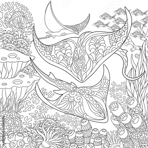 Zentangle Underwater Background With Manta Ray Fish
