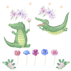 crocodile digital clip art cute animal and flowers for card, posters,