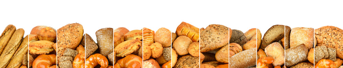 Fresh baked bread products in form vertical lines isolated on white background.