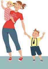 Teenage girl babysitter or nanny holding two little children, EPS 8 vector illustration