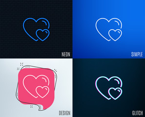 Glitch, Neon effect. Couple Love line icon. Two Hearts sign. Valentines day symbol. Trendy flat geometric designs. Vector
