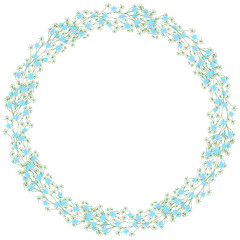 Gentle spring flowers arranged in a shape of heart. Doodle style. Wildflowers wreath isolated on white background.