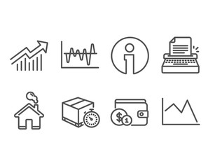 Set of Stock analysis, Delivery timer and Typewriter icons. Demand curve, Buying accessory and Line chart signs. Business trade, Express logistics, Writer machine. Vector