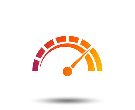 Tachometer sign icon. Revolution-counter symbol. Car speedometer performance. Blurred gradient design element. Vivid graphic flat icon. Vector