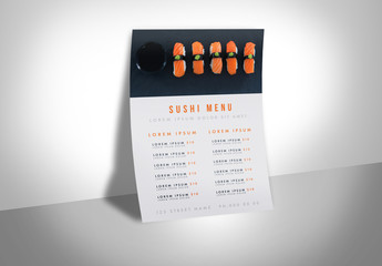 Menu Layout with Sushi Graphic