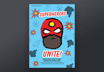Poster Layout with Superhero Theme