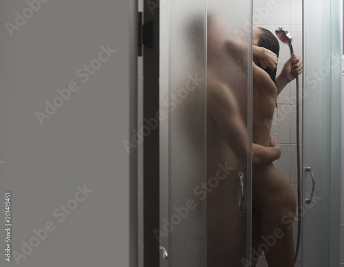 Couple In Love Have Sex In Shower Cabin Couple Full Of Desire Kissing In Shower