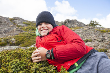 Portrait of young male hiker, Merritt, British Columbia, Canada